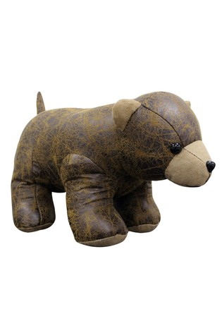 Faux Leather Bear Doorstop by Riva Home