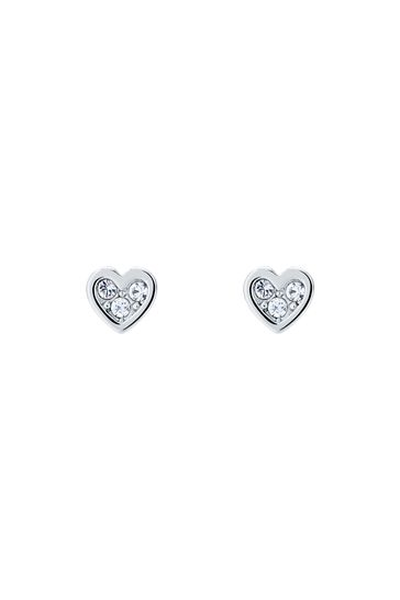 Ted Baker Silver Tone Neena Nano Heart Stud Earrings