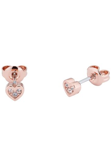 Ted Baker Rose Gold Neena Nano Heart Stud Earrings