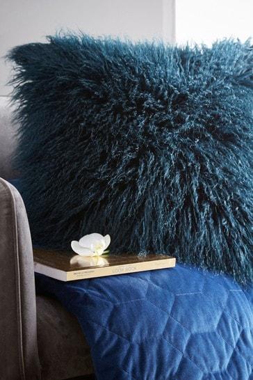 Tess Daly Blue Faux Mongolian Cushion