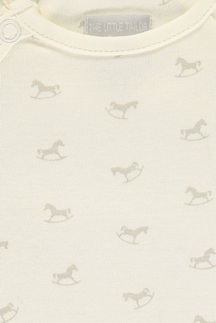 The Little Tailor Cream Jersey Print Rocking Horse Sleepsuit