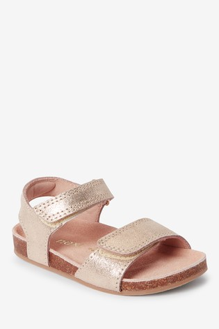 Gold Leather Wide Fit (G) Sandals