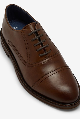 Tan Leather Toe Cap Oxford Shoes