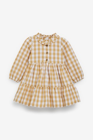 Stone Check Cotton Tiered Dress (3mths-7yrs)