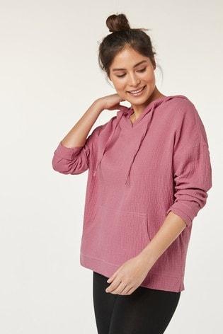 Pink Textured Cotton Hoody
