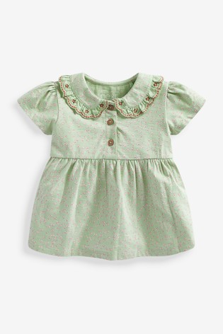 Green Floral Organic Cotton Collared Blouse (3mths-7yrs)