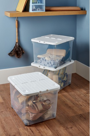 Set of 3 Uni 44L Folding Lid And Wheels Boxes by Wham