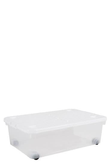 Set of 3 Wham Uni 32L Plastic Storage Box With Folding Lid and Wheels