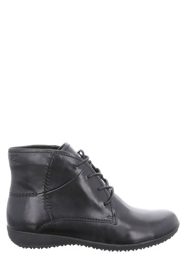 Josef Seibel Black Naly Lace-Up Ankle Boots