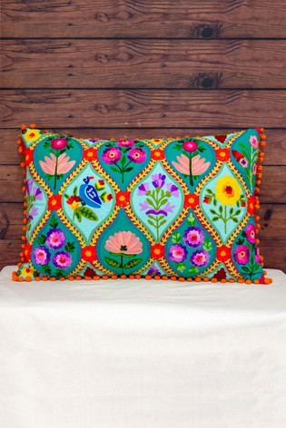 Embroidered Tile Cushion by Riva Home