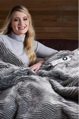 Dreamland Zebra Print Luxury Faux Fur Heated Throw