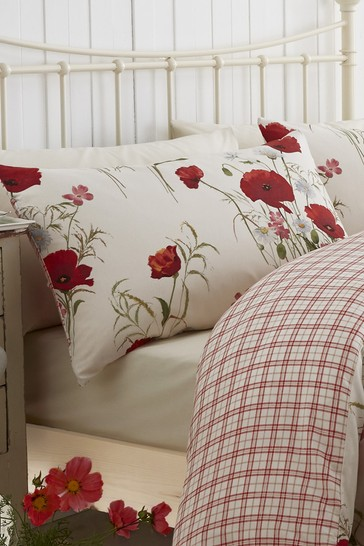 Catherine Lansfield Red Wild Poppies Easy Care Duvet Cover and Pillowcase Set