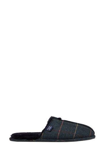 Joules Blue Furlton Tweed Wool Slippers