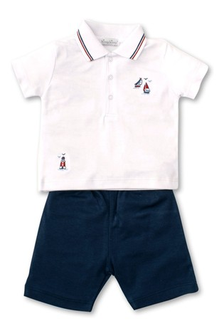 Kissy Kissy White And Navy Polo And Short Set