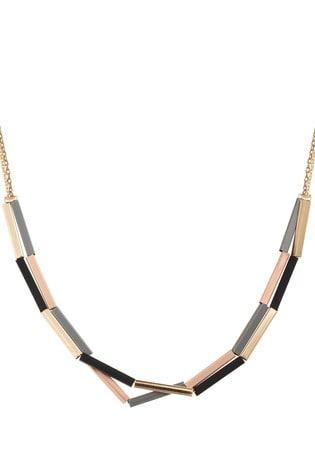 Oliver Bonas Emin Double Round Coated & Shiny Bar Mini Collar Necklace