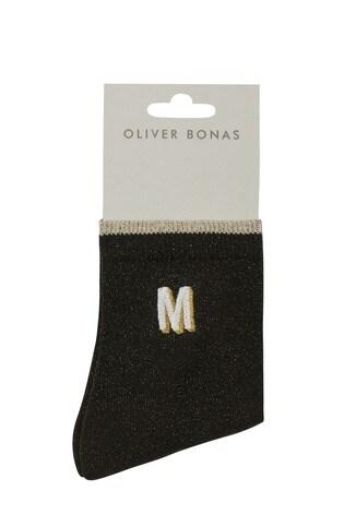 Oliver Bonas Alphabet Embroidered Initial Letter Black Ankle Socks M