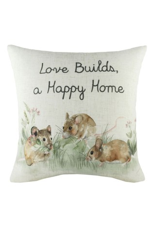 Evans Lichfield White Hand Painted Hedgerow Mice Cushion