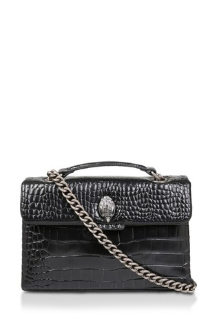 Kurt Geiger London Black Croc Kensington Leather Bag
