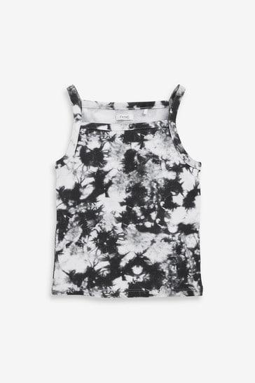 Black/White Tie Dye Strappy Vest (3-16yrs)