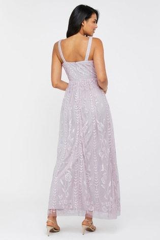 Monsoon Purple Lavinia Embroidered Maxi Dress