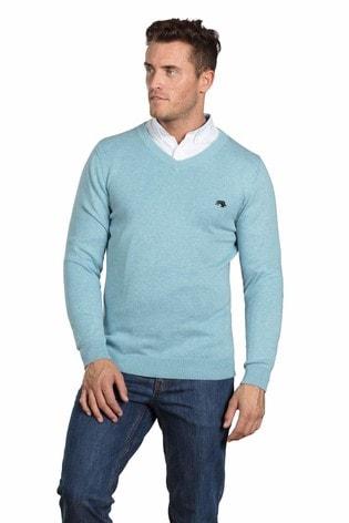 Raging Bull Sea Blue V-Neck Cotton Cashmere Sweater