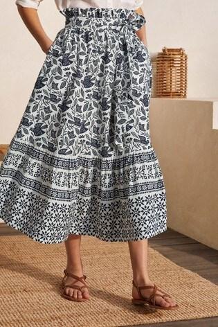 Boden Blue Jane Tiered Cotton Skirt