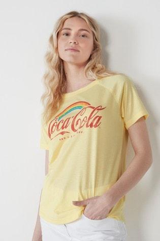 Yellow Coca-Cola Licence Raglan T-Shirt