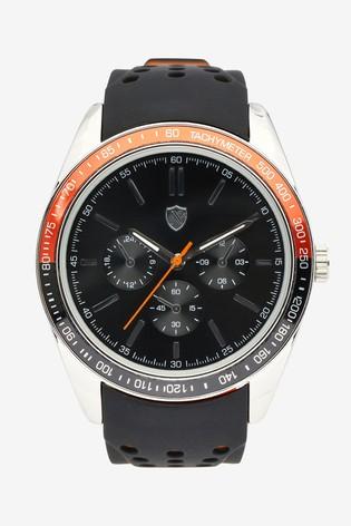 Black Silicone Strap Watch