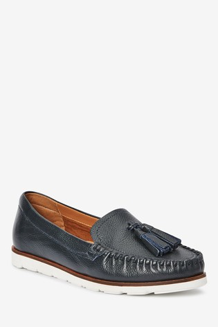 Navy Leather Moccasins