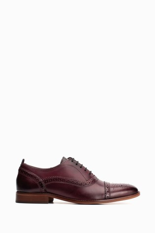 Base London® Red Cast Washed Bordo Lace Up Brogues