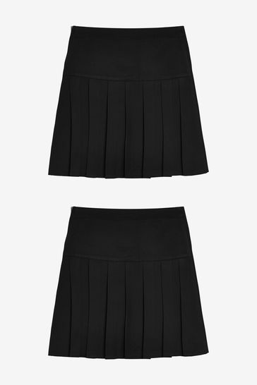 Black 2 Pack Pleat Skirts (3-16yrs)