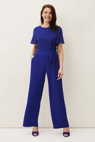 Phase Eight Blue Georgette Knot Bodice Jumpsuit