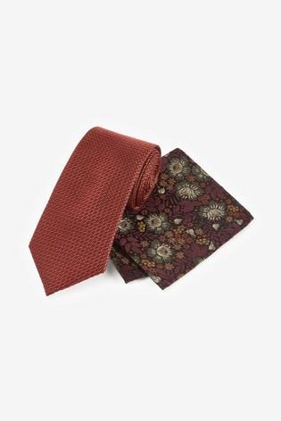 Rust Signature Tie With Pocket Square Set