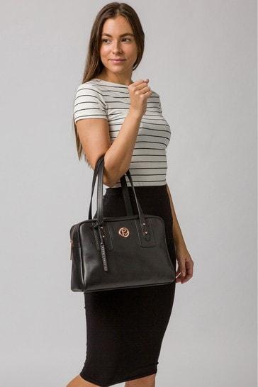 PureLuxuries London Black Madox Leather Handbag
