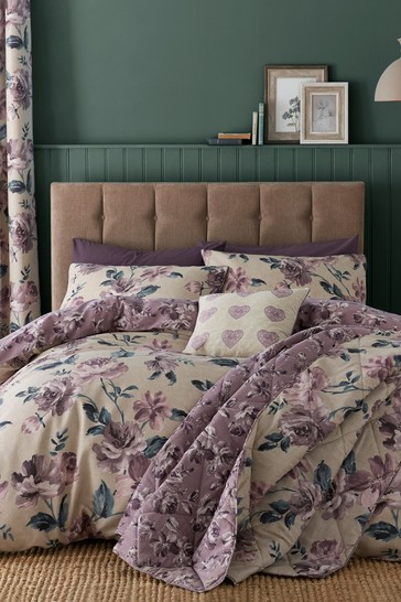 Catherine Lansfield Purple Painted Floral Easy Care Duvet Cover and Pillowcase Set