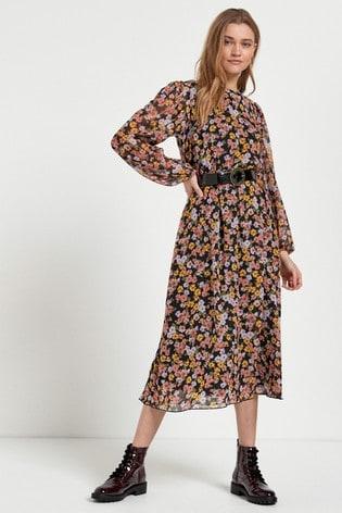 Multi Printed Long Sleeve Belted Dress