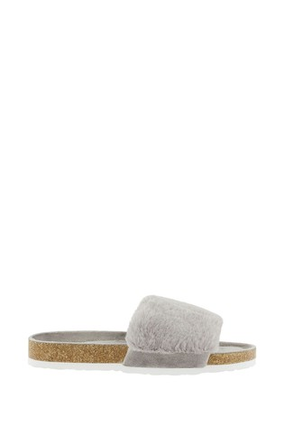 Accessorize Grey Luxe Faux Fur Sliders With Cork Base