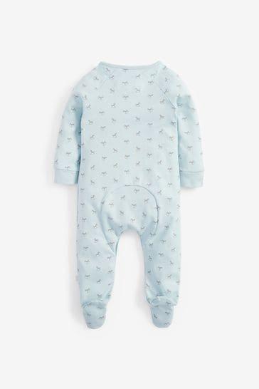 The Little Tailor Blue Jersey Print Rocking Horse Sleepsuit