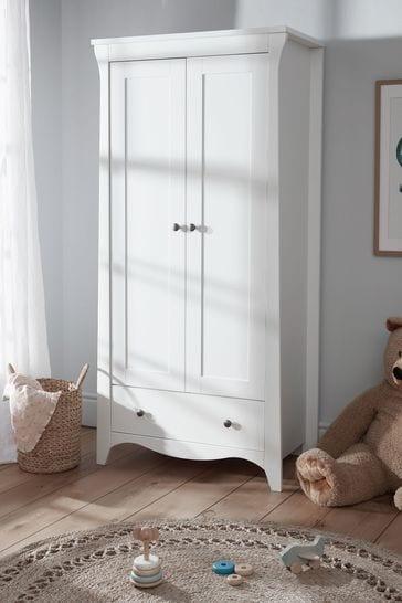 Clara Nursery Wardrobe In White By Cuddleco
