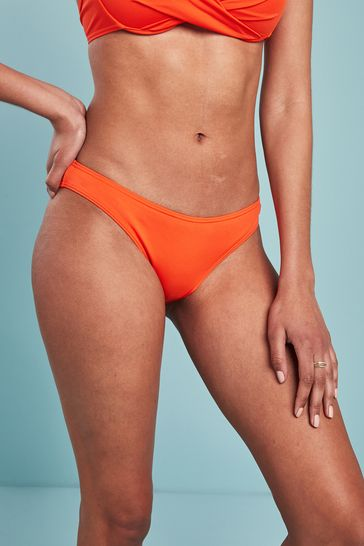 Orange High Leg Bikini Briefs