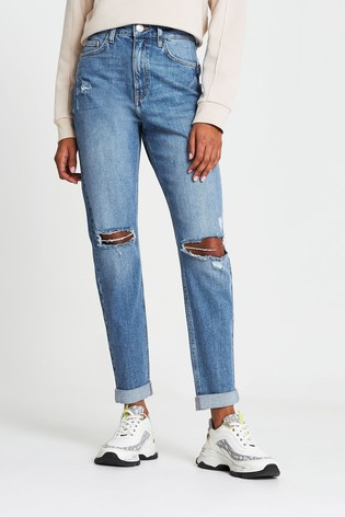 River Island Mid Wash Carrie High Rise Ripped Mom Jeans