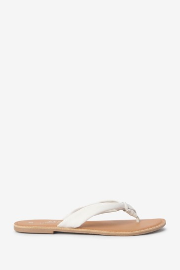 White Regular/Wide Fit Twisted Knot Toe Thong Sandals