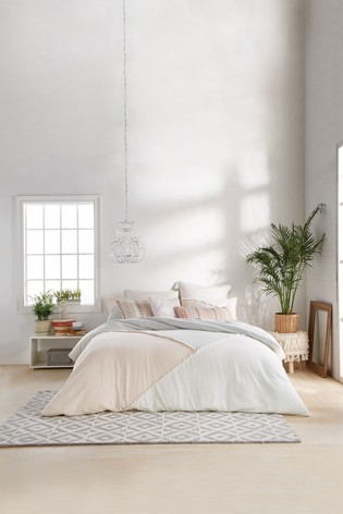 Peri Home White Colourblock Fringe Duvet Cover