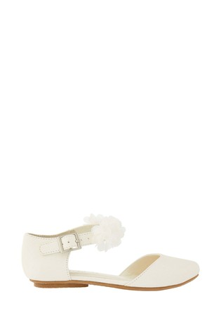 Monsoon Ivory Two Part Corsage Flat Shoes