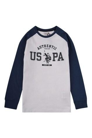U.S. Polo Assn. White Authentic Raglan T-Shirt