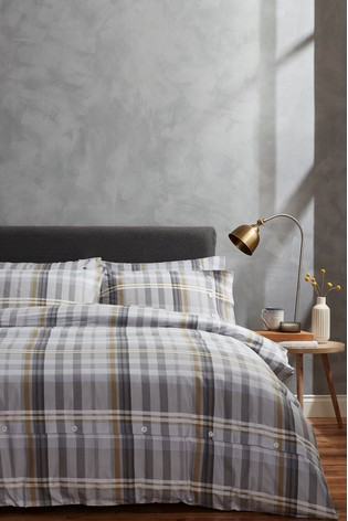 Campbell Check Brushed Cotton Duvet Cover and Pillowcase Set by Bianca