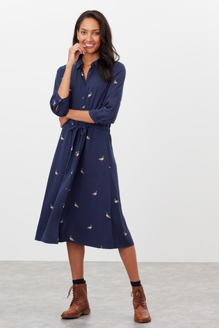 Joules Blue Winslet Long Sleeve Shirt Dress