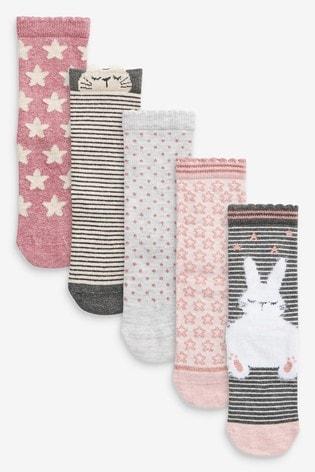 Pink 5 Pack Bunny Ankle Socks