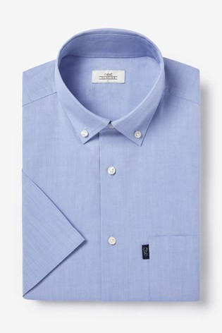 Light Blue Regular Fit Short Sleeve Easy Iron Button Down Oxford Shirt