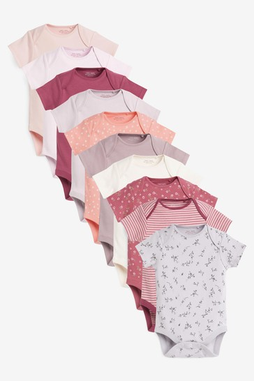 Modern Pink 10 Pack Short Sleeve Bodysuits (0mths-3yrs)